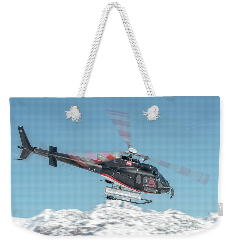 Eurecuil Weekender Tote Bag featuring the photograph F-gsdg Eurocopter As350 Helicopter Over Mountain by Roberto Chiartano