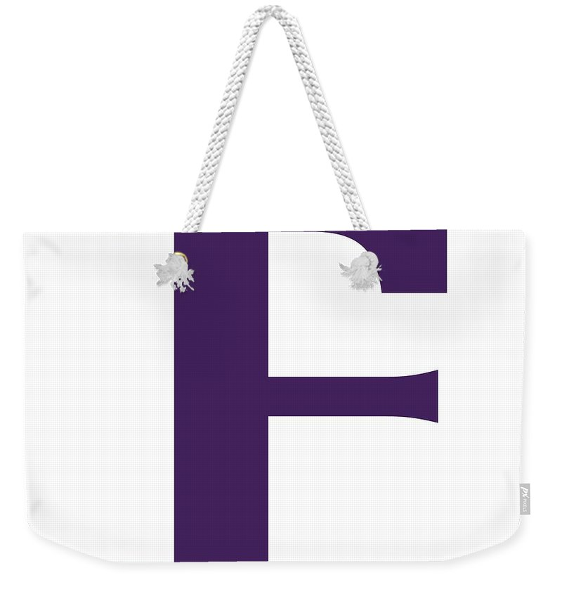 F Weekender Tote Bag featuring the digital art F In Purple Typewriter Style by Custom Home Fashions
