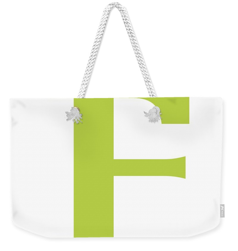F Weekender Tote Bag featuring the digital art F In Spring Green Typewriter Style by Custom Home Fashions