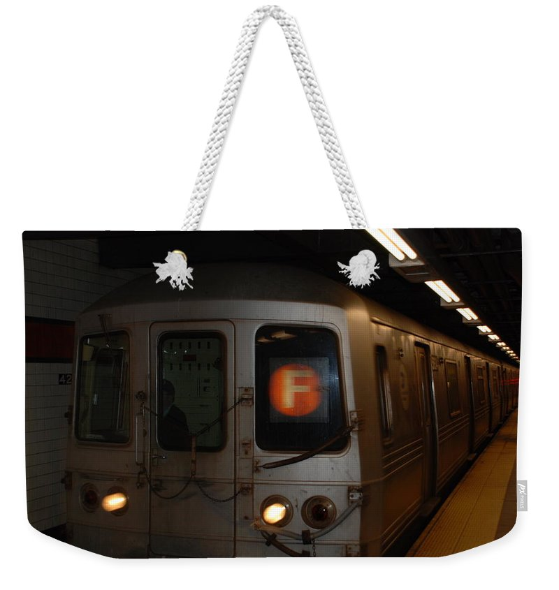 New York City Weekender Tote Bag featuring the photograph F Trian by Rob Hans