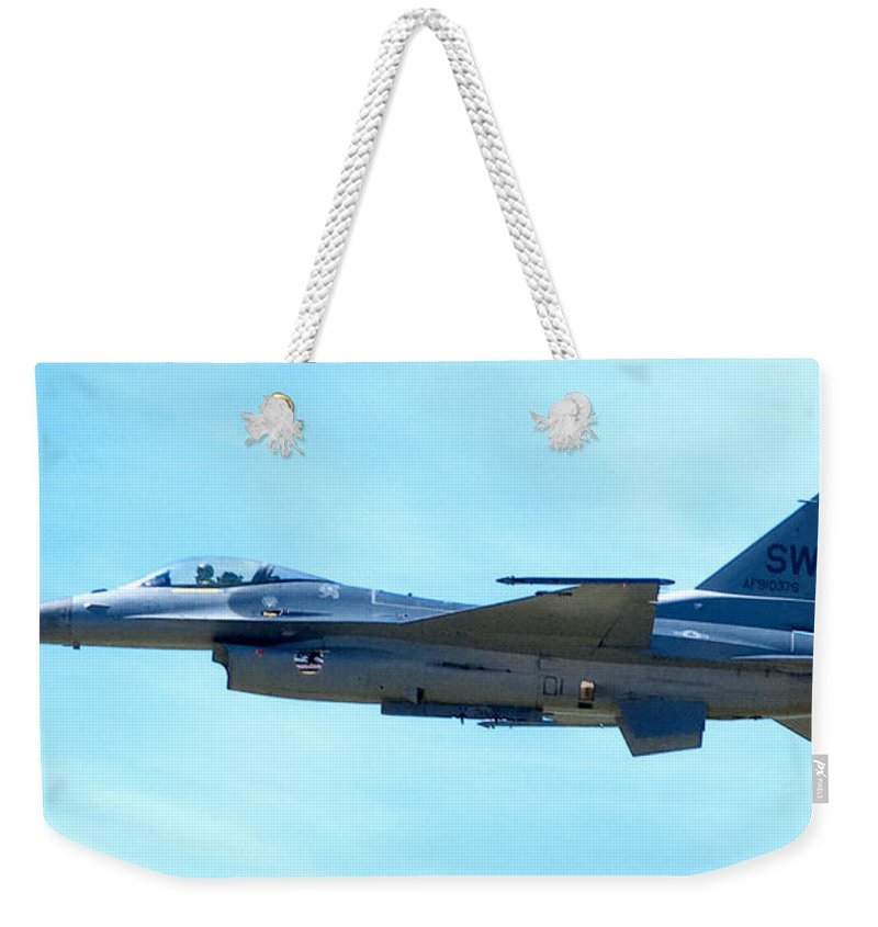 F16 Weekender Tote Bag featuring the photograph F16 by Greg Fortier