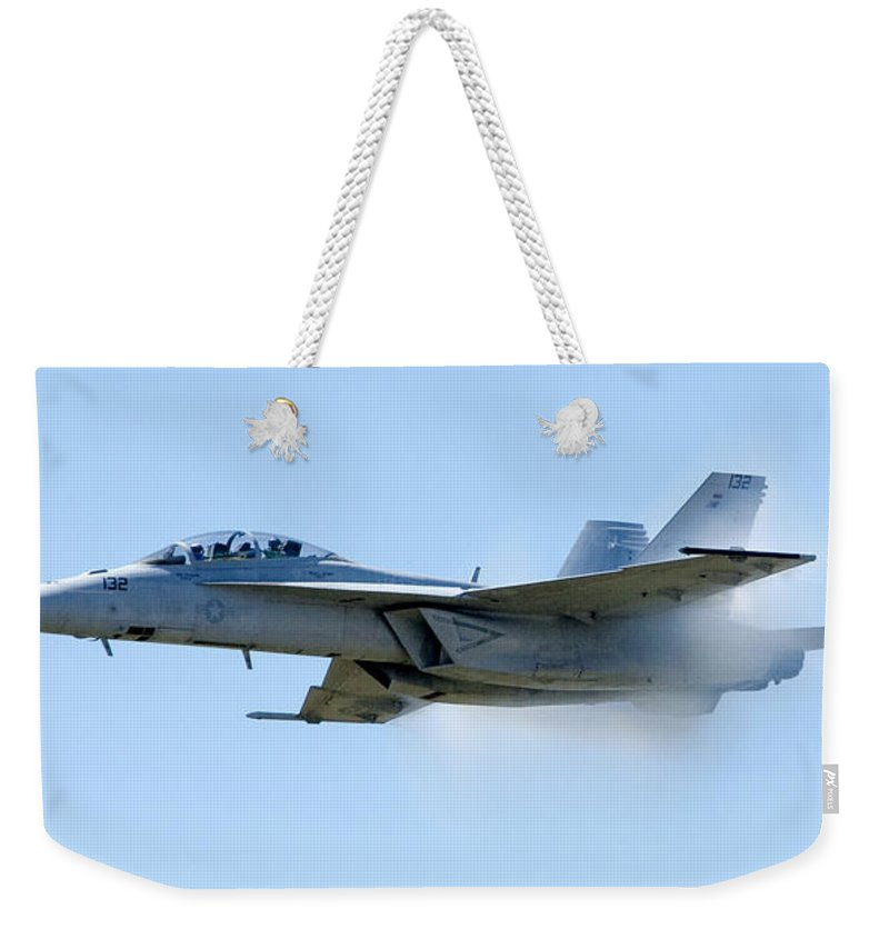 F18 Weekender Tote Bag featuring the photograph F18 - Barrier by Greg Fortier