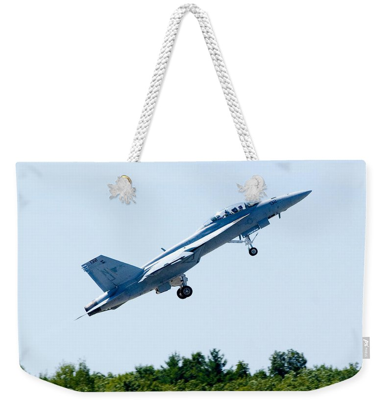 F18 Weekender Tote Bag featuring the photograph F18 - Take Off by Greg Fortier