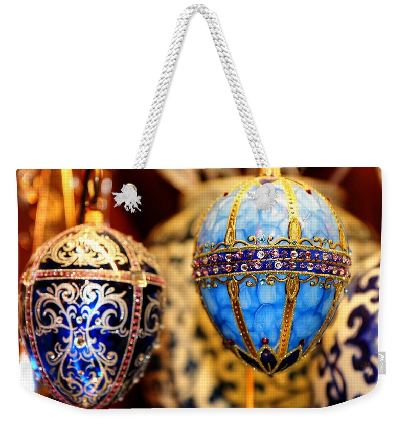Christmas Weekender Tote Bag featuring the photograph Faberge Holiday Eggs by Carol Montoya