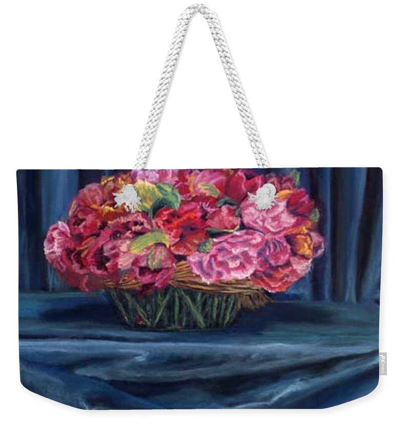 Flowers Weekender Tote Bag featuring the painting Fabric And Flowers by Sharon E Allen