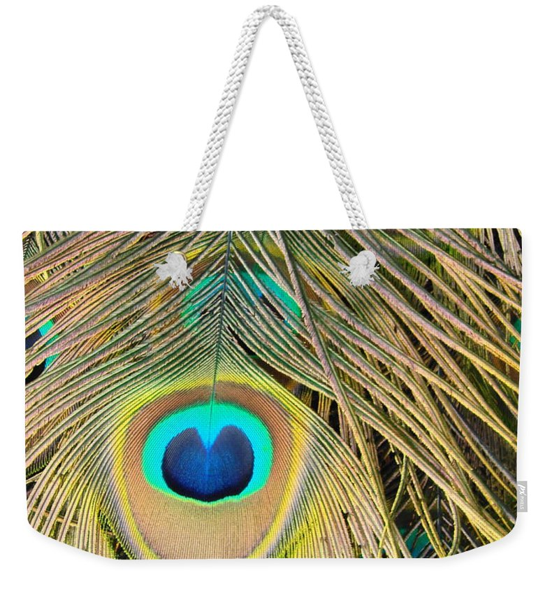 Peacock Weekender Tote Bag featuring the photograph Fabulous Feathers by Margaret Bobb