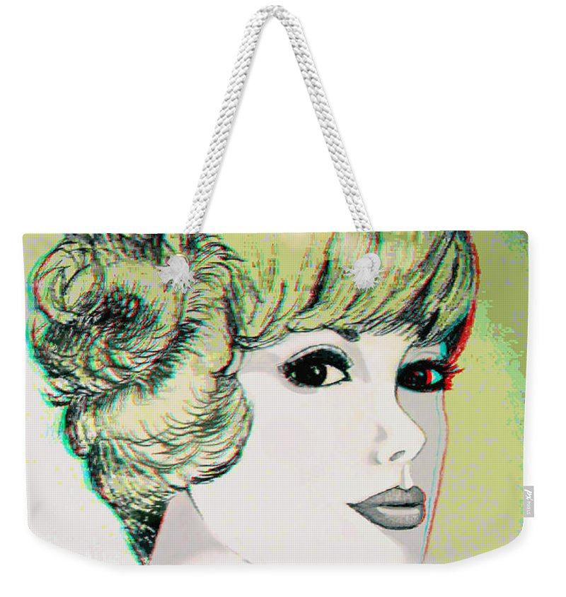 3d Weekender Tote Bag featuring the photograph Face - Use Red-cyan 3d Glasses by Brian Wallace