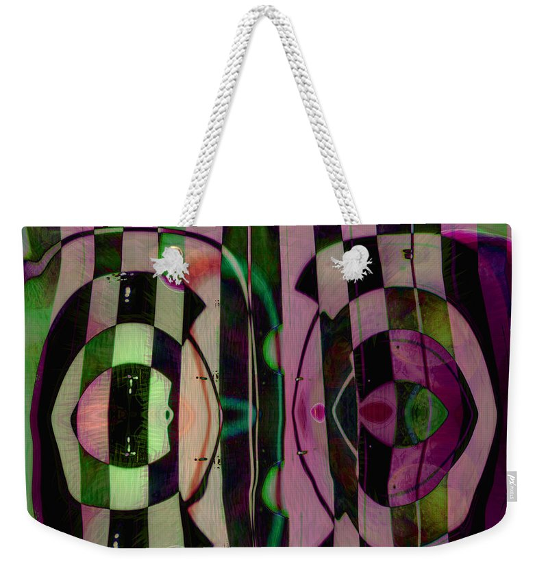 Face To Face Weekender Tote Bag featuring the digital art Face 2 Face by Linda Sannuti