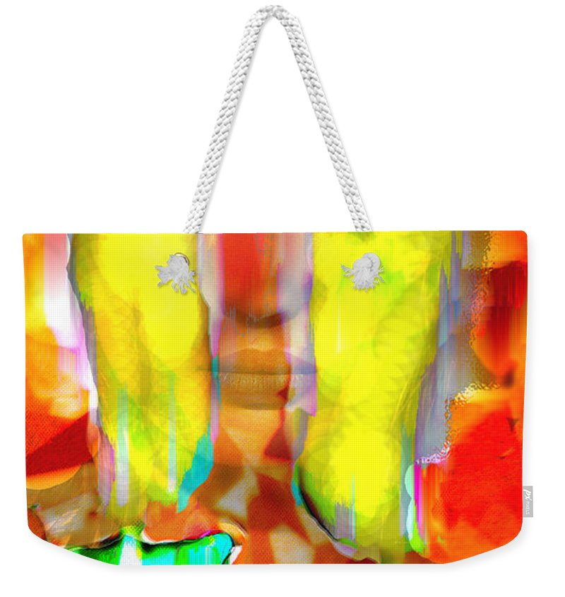 Candles Weekender Tote Bag featuring the digital art Face In The Flames by Seth Weaver