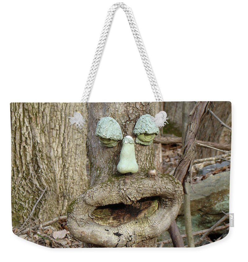 Tree Weekender Tote Bag featuring the photograph Face In The Woods by Mother Nature