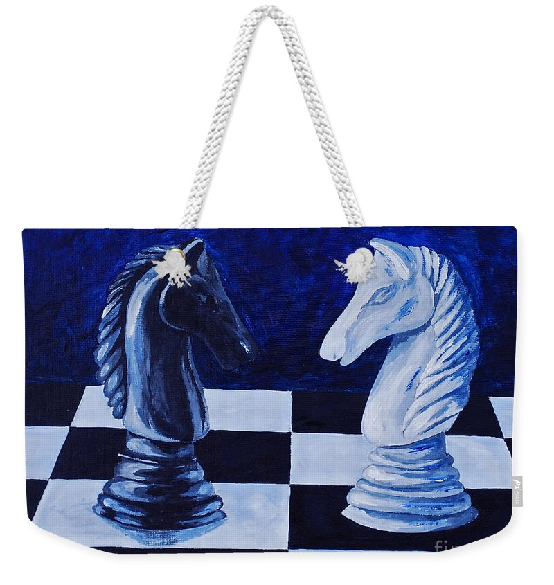 Toys And Games Chess Games Kids Games Chess Piece Weekender Tote Bag featuring the painting Face Off by Herschel Fall