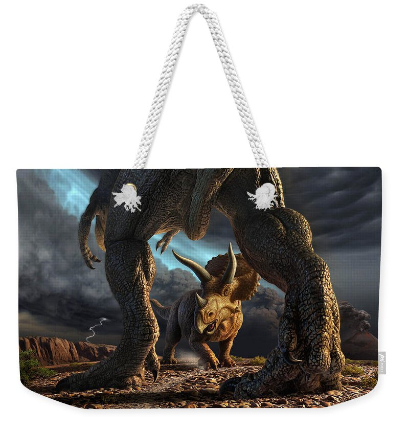 Dinosaur Weekender Tote Bag featuring the digital art Face Off by Jerry LoFaro