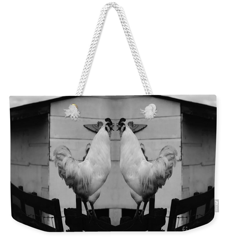Rooster Weekender Tote Bag featuring the photograph Face Off by Peter Piatt