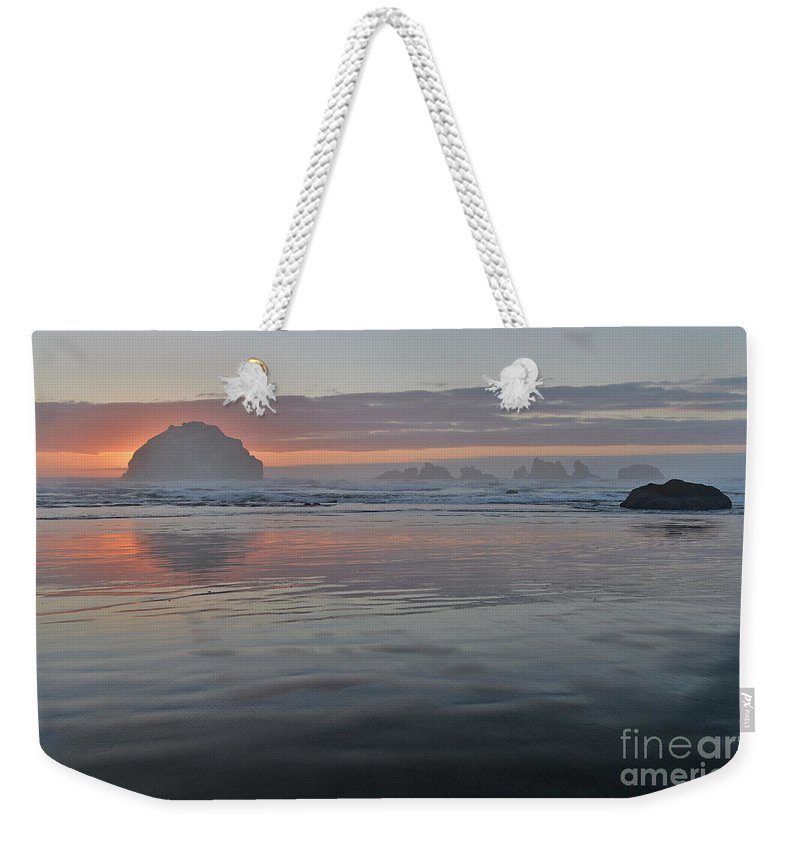 Bandon Weekender Tote Bag featuring the photograph Face Rock Sunset by John Chao