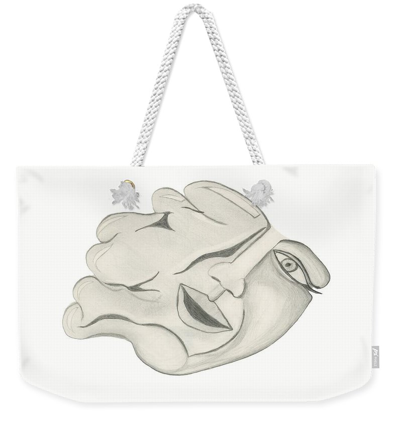 Face Weekender Tote Bag featuring the drawing Face by Sara Stevenson