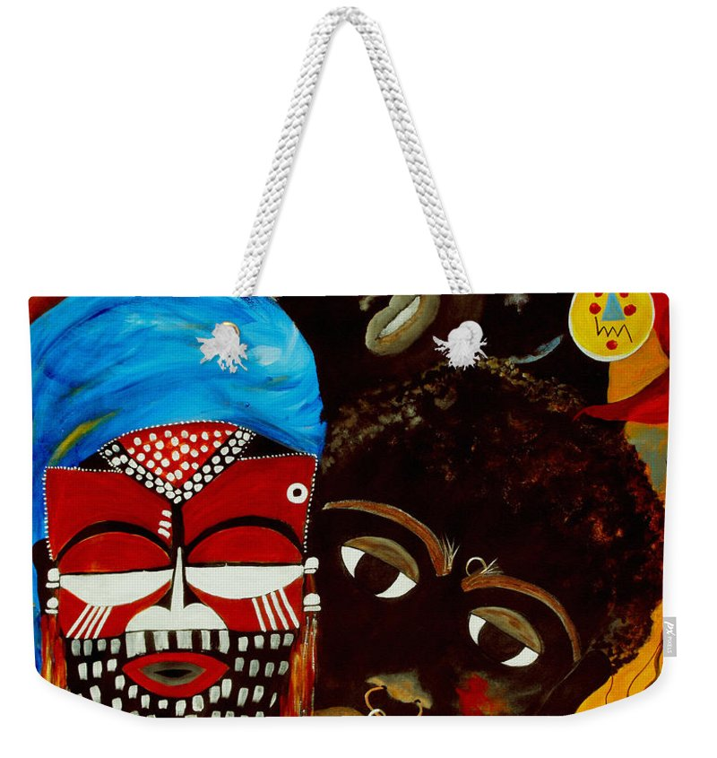 Abstract Weekender Tote Bag featuring the painting Faces Of Africa by Ruth Palmer