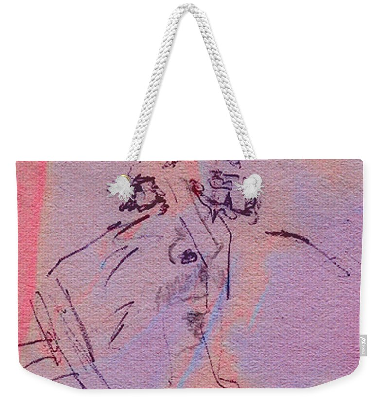 Abstract Weekender Tote Bag featuring the mixed media Faces Of Trivia by Steve Karol