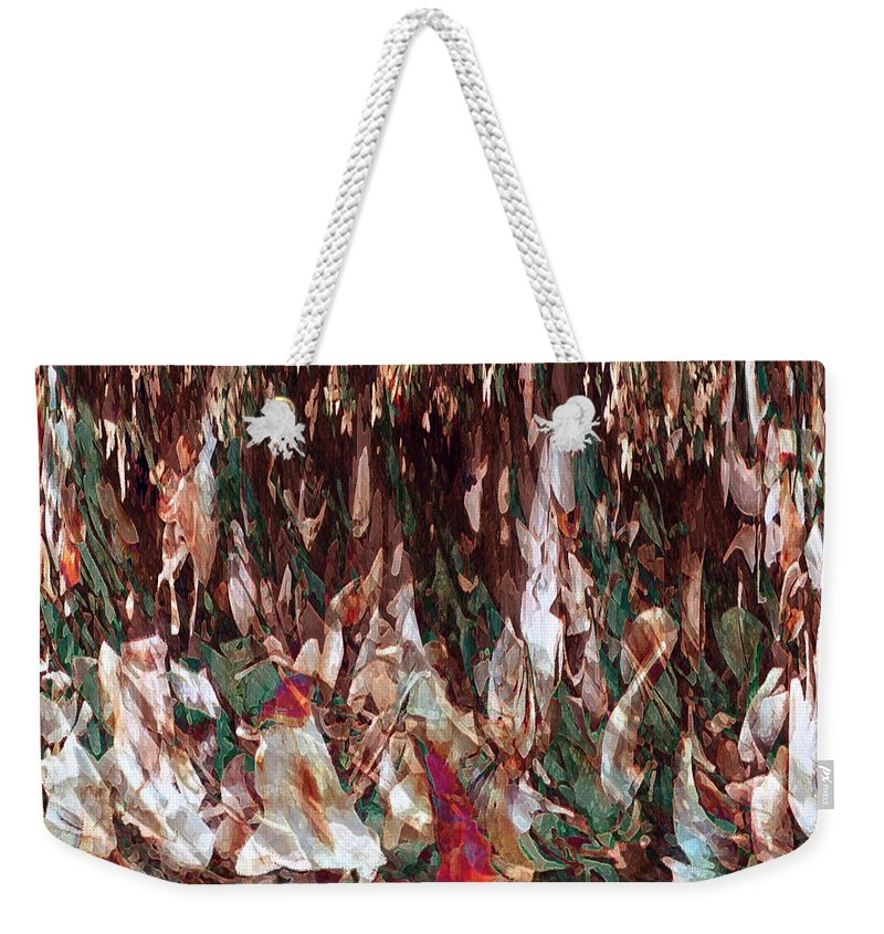 Abstract Art Weekender Tote Bag featuring the digital art Face's Within by Linda Sannuti
