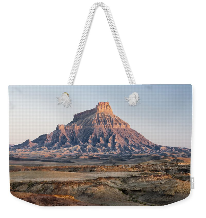 Sunrise Weekender Tote Bag featuring the photograph Factory Butte 0761 by Bob Neiman