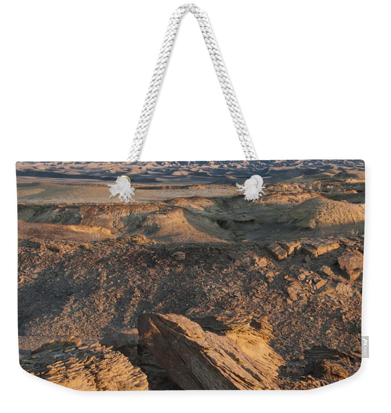 Sunrise Weekender Tote Bag featuring the photograph Factory Butte 0768 by Bob Neiman