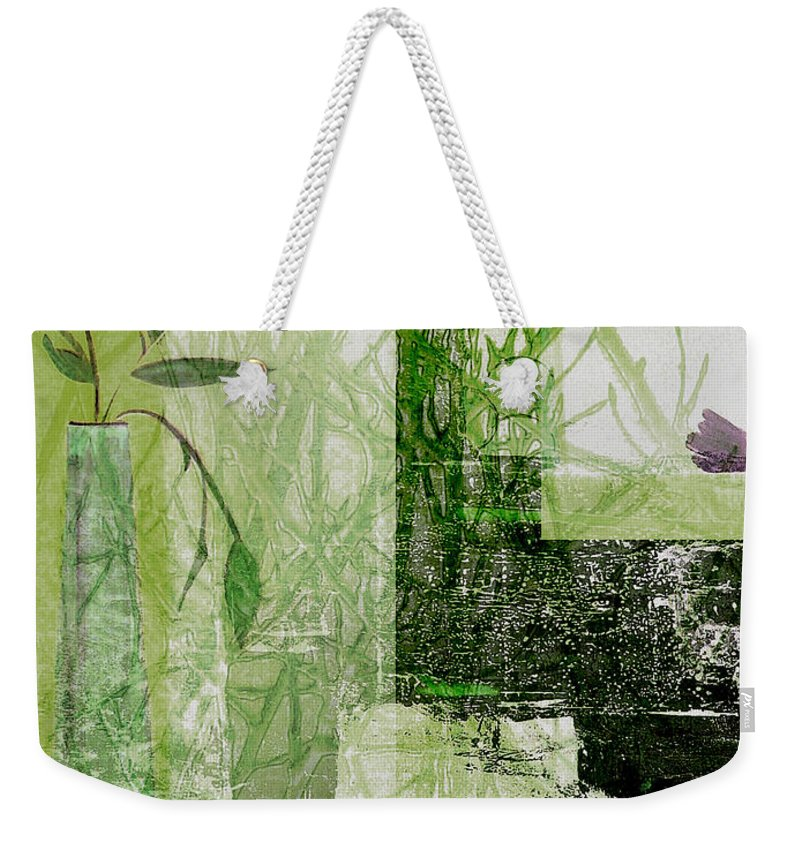 Abstract Weekender Tote Bag featuring the mixed media Faded Floral by Ruth Palmer