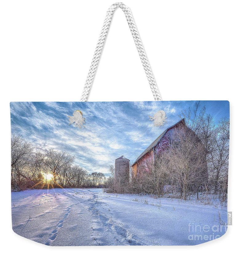 Sunset Weekender Tote Bag featuring the photograph Fading History by Monica Hall
