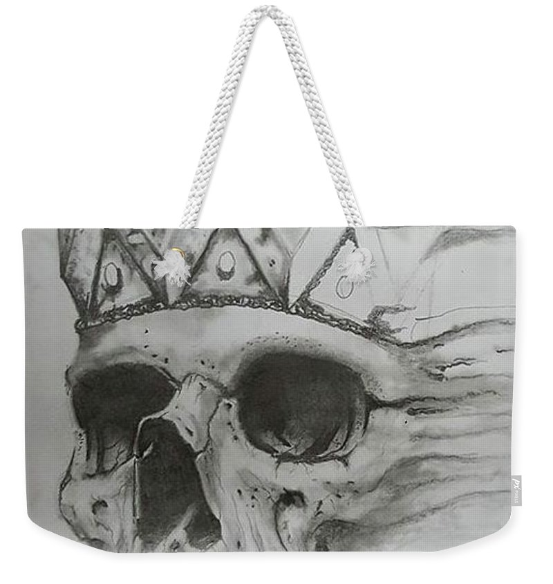 Skull Weekender Tote Bag featuring the drawing Fading King by Howard King