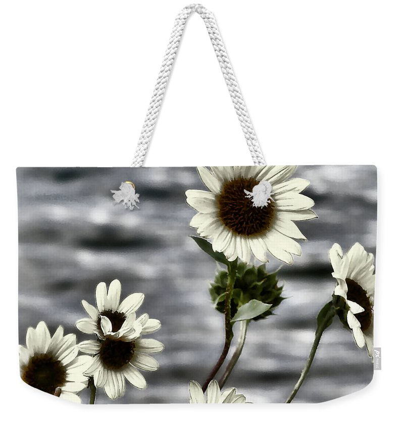 Enhanced Photography Weekender Tote Bag featuring the photograph Fading Sunflowers by Susan Kinney