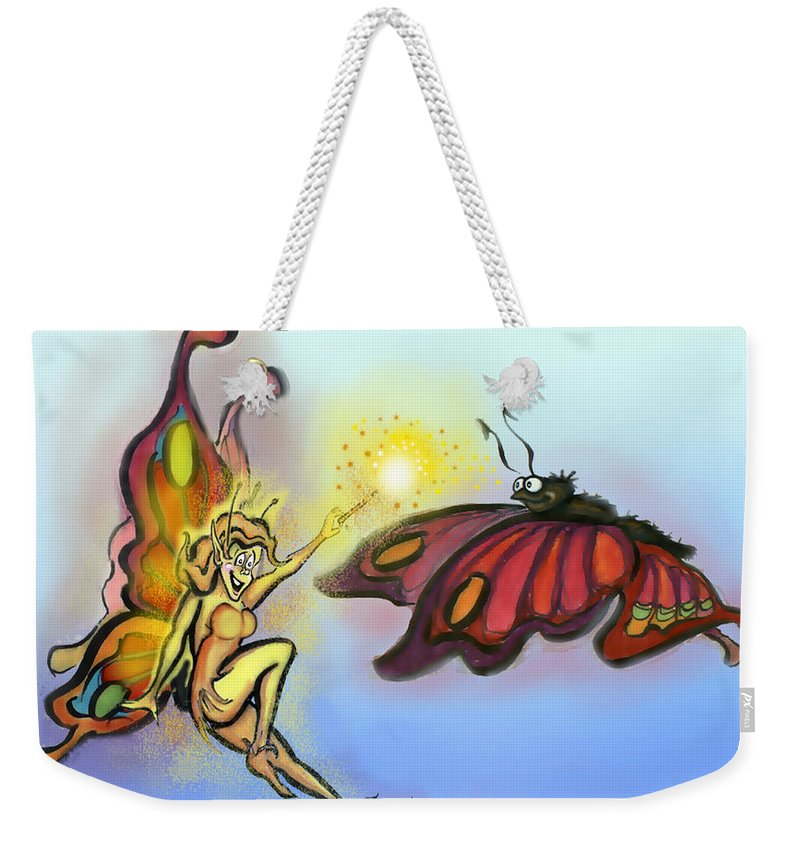 Faerie Weekender Tote Bag featuring the painting Faerie N Butterfly by Kevin Middleton