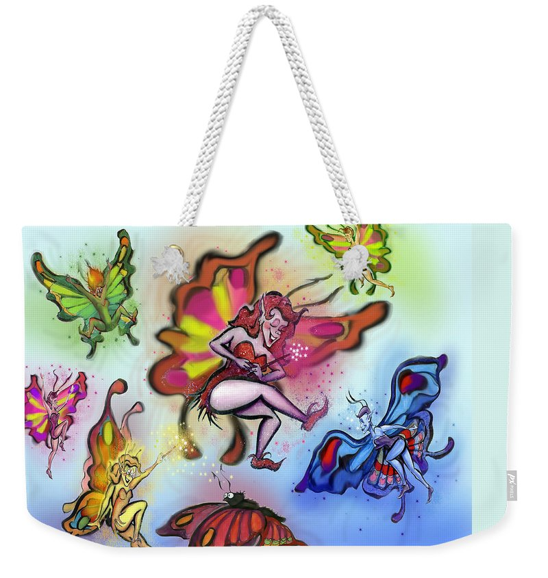 Faeries Weekender Tote Bag featuring the painting Faeries by Kevin Middleton