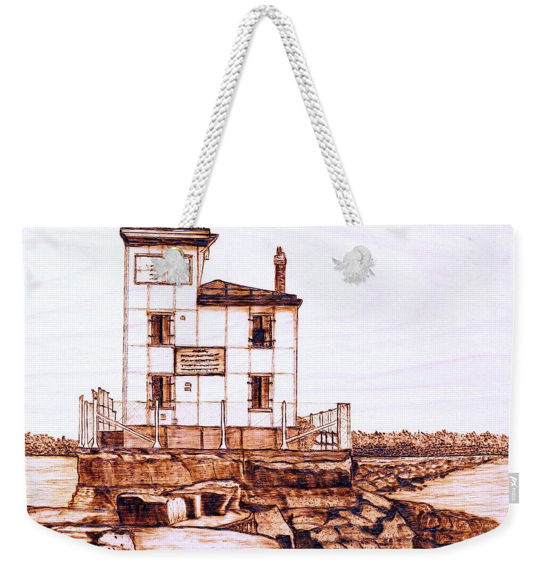 Lighthouse Weekender Tote Bag featuring the pyrography Fair Port Harbor by Danette Smith