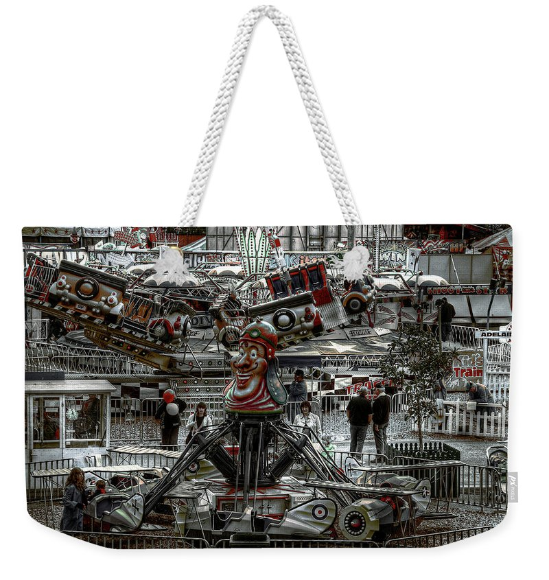 People Weekender Tote Bag featuring the photograph Fairground Narrative by Wayne Sherriff