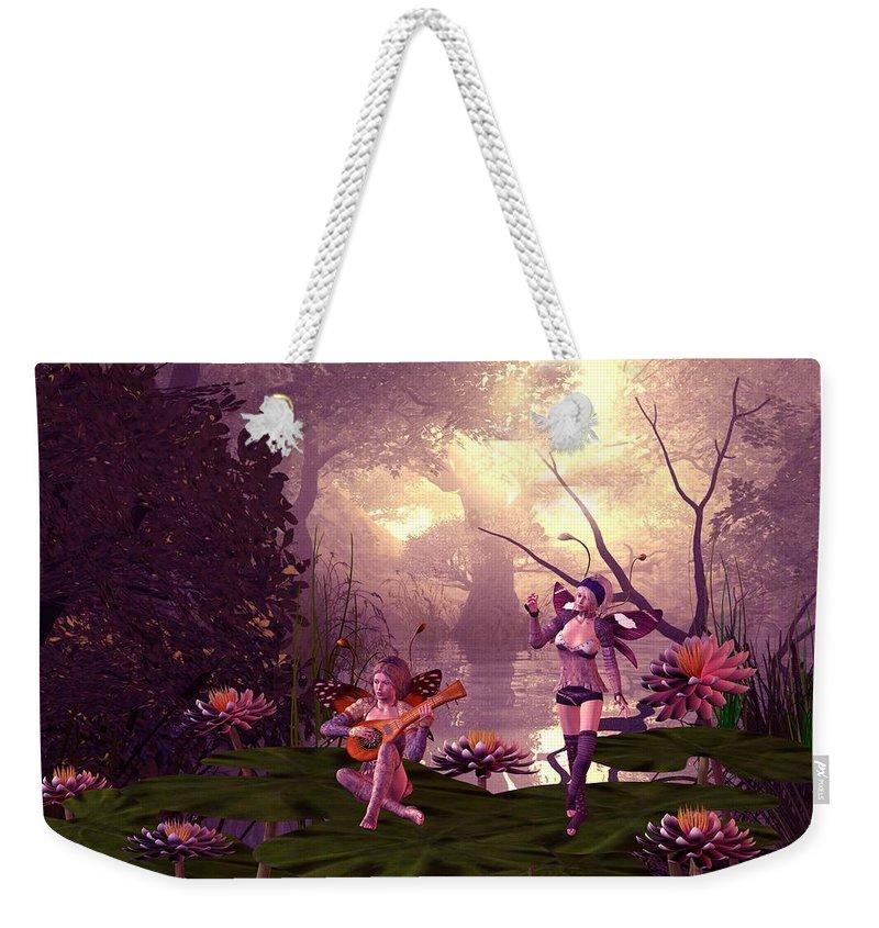Fantasy Weekender Tote Bag featuring the digital art Fairies At A Pond by John Junek