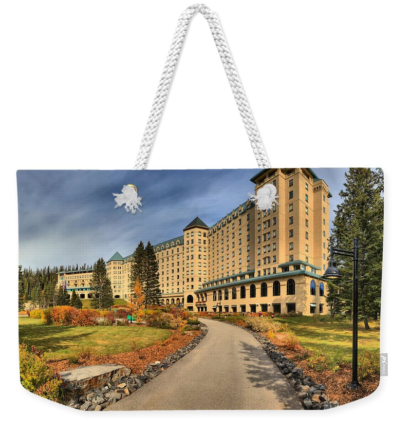 Chateau Lake Louise Weekender Tote Bag featuring the photograph Fairmont Chateau Lake Louise by Adam Jewell