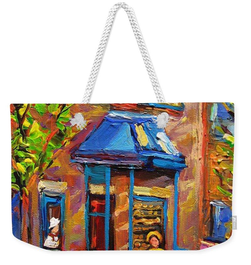 Fairmount Bagel Weekender Tote Bag featuring the painting Fairmount Bagel Fairmount Street Montreal by Carole Spandau