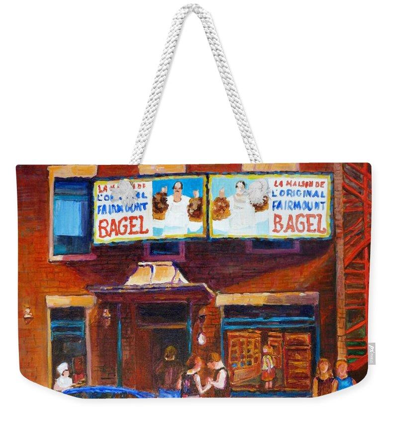 Fairmount Bagel Weekender Tote Bag featuring the painting Fairmount Bagel With Blue Car by Carole Spandau