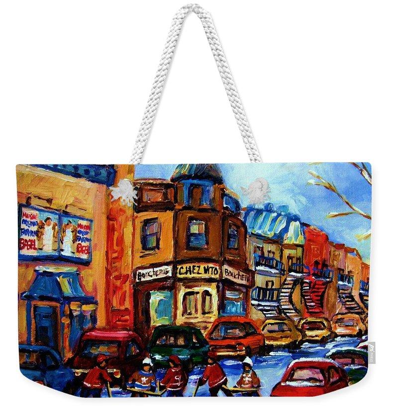 Hockey Weekender Tote Bag featuring the painting Fairmount Bagel With Hockey Game by Carole Spandau