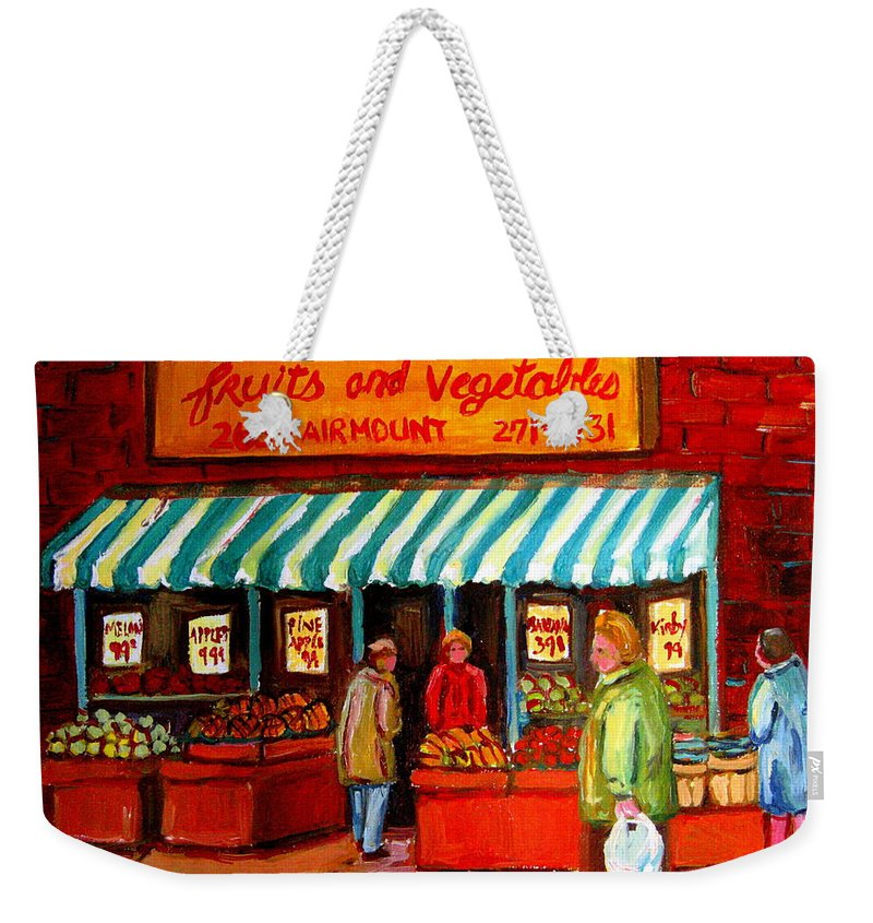 Fairmount Fruits And Vegetables Weekender Tote Bag featuring the painting Fairmount Fruit And Vegetables by Carole Spandau
