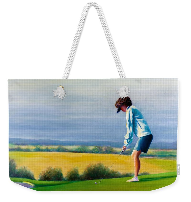 Golfer Weekender Tote Bag featuring the painting Fairy Golf Mother by Shannon Grissom