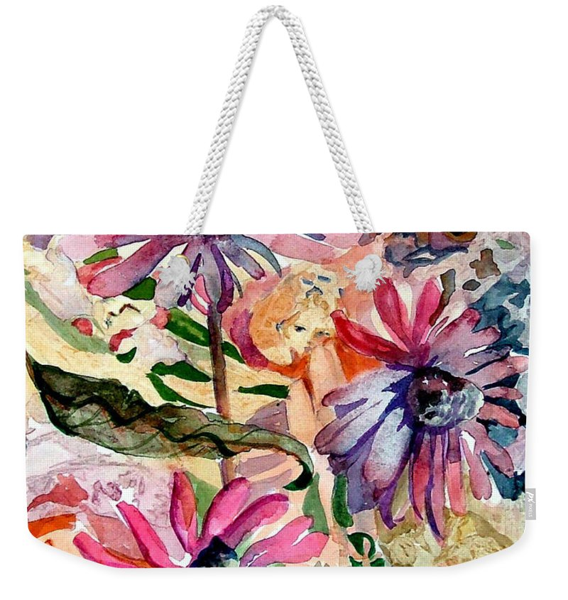 Daisy Weekender Tote Bag featuring the painting Fairy Land by Mindy Newman