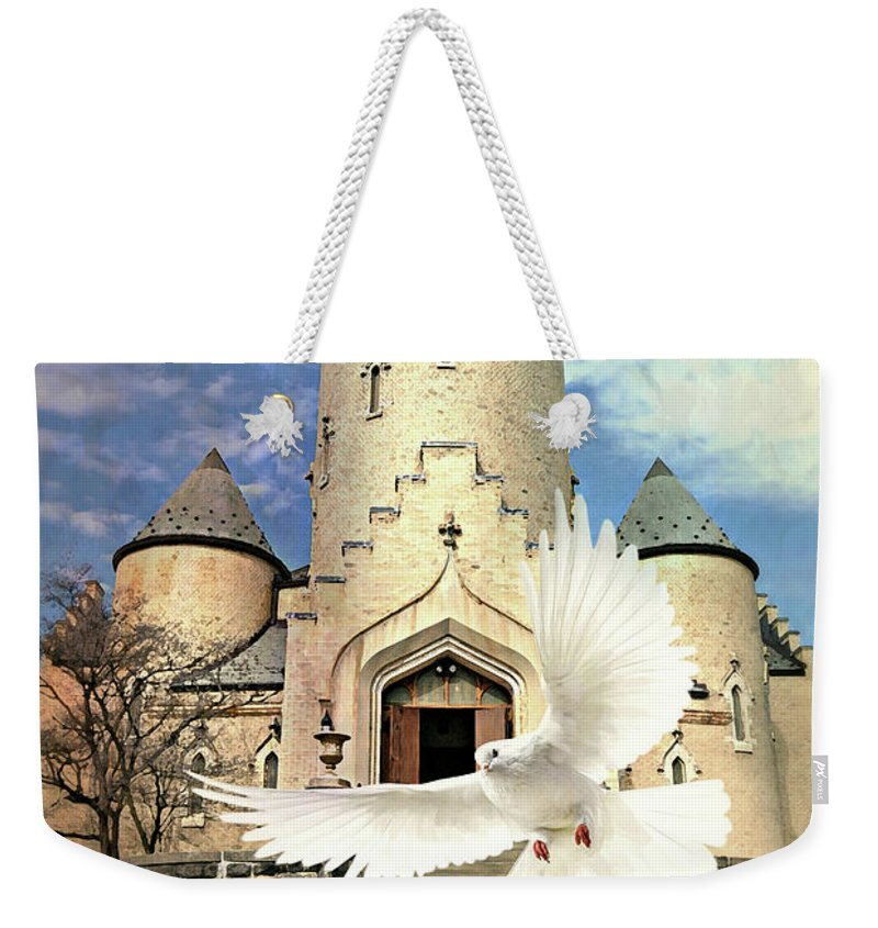 Church Weekender Tote Bag featuring the digital art Faith Angel by Diana Angstadt