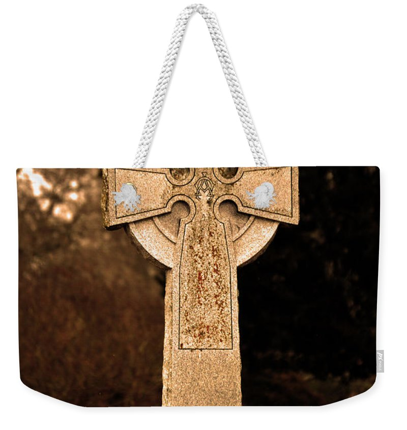 Cross Weekender Tote Bag featuring the photograph Faithful Until Death by Lesa Fine