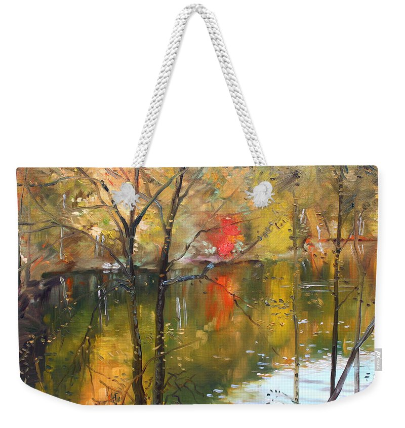Landscape Weekender Tote Bag featuring the painting Fall 2009 by Ylli Haruni