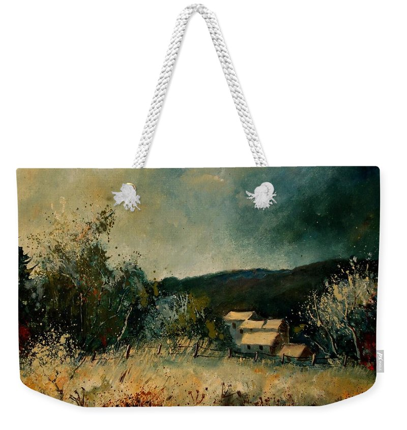 Village Weekender Tote Bag featuring the painting Fall 4590 by Pol Ledent