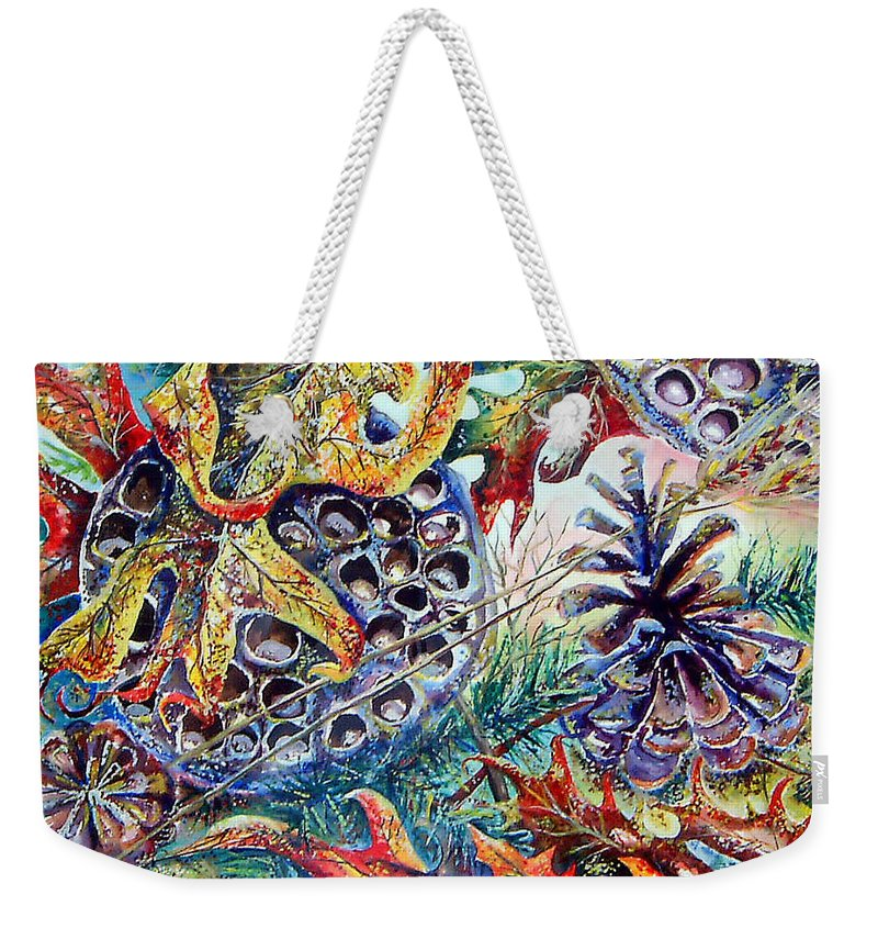 Fall Leaves Pinecones Orange Seeds Acrylic Painting Weekender Tote Bag featuring the painting Fall Affair by Linda Shackelford
