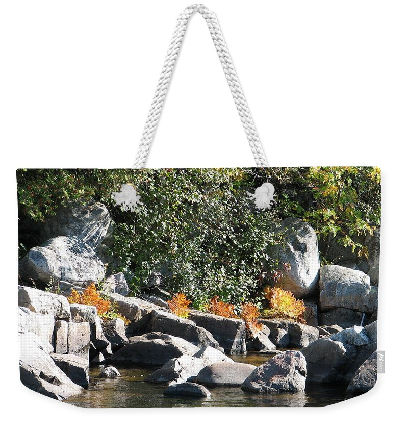 Creek Weekender Tote Bag featuring the photograph Fall At The Creek by Kelly Mezzapelle