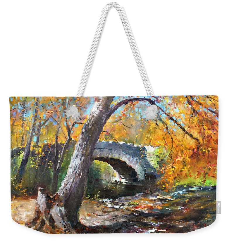 Bridge Weekender Tote Bag featuring the painting Fall At Three Sisters Islands by Ylli Haruni
