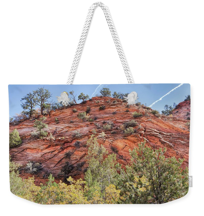 John Bailey Weekender Tote Bag featuring the photograph Fall Begins In Zion by John M Bailey