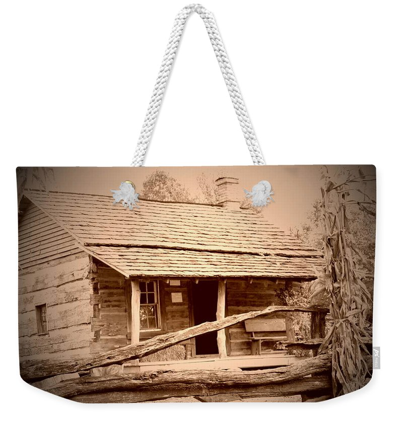 Cabin Weekender Tote Bag featuring the photograph Fall Cabin by Cher Kelley