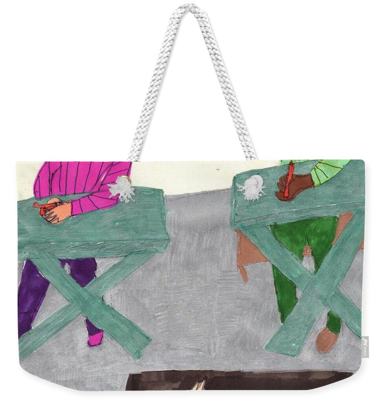 2 Ladies In A Fall Class Listening Tp Their Instructor Weekender Tote Bag featuring the mixed media Fall Class by Elinor Helen Rakowski